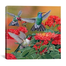 """Hummingbirds and Flowers"" Canvas Wall Art by William Vanderdasson"