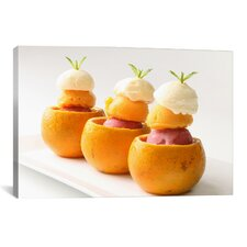 Ice Cream Balls Inside Oranges Photographic Canvas Wall Art