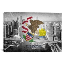 Illinois Flag, Chicago Skyline Graphic Art on Canvas