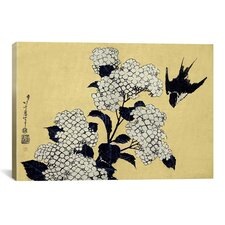 Ando Hiroshige 'Hydrangea and Swallow' by Katsushika Hokusai Graphic Art on Canvas