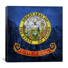 Idaho Flag, City of Rock with Grunge Graphic Art on Canvas