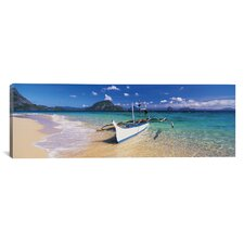 Panoramic Fishing Boat Moored on the Beach, Palawan, Philippines Photographic Print on Canvas