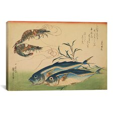 Ando Hiroshige 'Horse Mackerel (Aji) with Shrimp of Prawn' by Utagawa Hiroshige l Graphic Art on Canvas