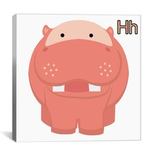 Kids Art H is for Hippo Graphic Canvas Wall Art