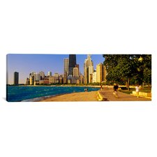 Panoramic Group of People Jogging in Chicago, Illinois Photographic Print on Canvas