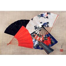 'Five Fans' by Katsushika Hokusai Graphic Art on Canvas
