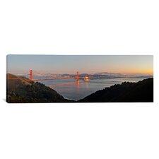 Panoramic Golden Gate Bridge from Hawk Hill, San Francisco, California Photographic Print on Canvas