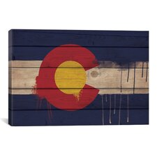 Colorado Flag, Wood Planks with Paint Drips Graphic Art on Canvas