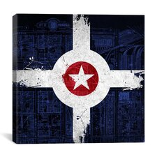 Indianapolis Flag, Map with Grunge Graphic Art on Canvas