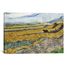 'Enclosed Field with Ploughman' by Vincent van Gogh Painting Print on Canvas