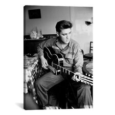 Elvis Presley, Army Year, Playing Guitar Photographic Print on Canvas