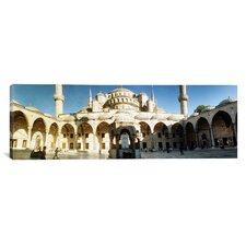 Panoramic Courtyard of Blue Mosque in Istanbul, Turkey Photographic Print on Canvas