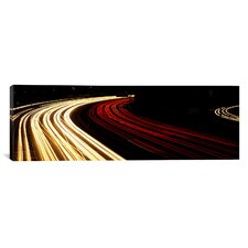 Panoramic Hollywood Freeway at Night California Photographic Print on Canvas