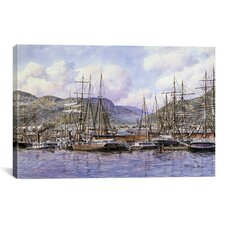 'Honolulu Harbor, California, 1898' by Stanton Manolakas Painting Print on Canvas