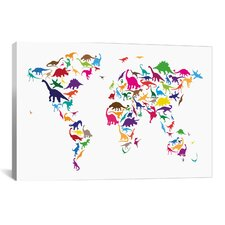 'Dinosaur Map of the World Map II' by Michael Tompsett Graphic Art on Canvas