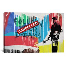 Street Art 'Dreams Cancelled Color Splatter' Graphic Art on Canvas