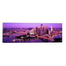 Panoramic Dusk Pittsburgh, Pennsylvania Photographic Print on Canvas
