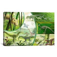 Kids Children Jurassic Cartoon Dinosours Canvas Wall Art