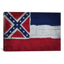 Mississippi Flag, Wood Planks Graphic Art on Canvas