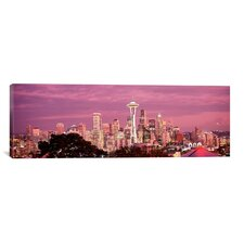 Panoramic 'City Viewed from Queen Anne Hill, Space Needle, Seattle, King County, Washington State' Photographic Print on Canvas