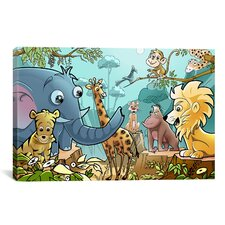 Kids Children Jungle Cartoon Animals Canvas Wall Art