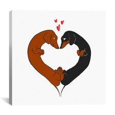 'Dachshund Heart Card' by Brian Rubenacker Graphic Art on Canvas