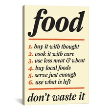 Kitchen Don't Waste Food Graphic Art on Canvas