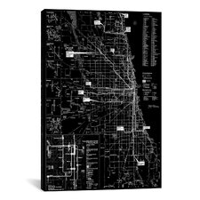 Modern Chicago Transit Negative Graphic Art on Canvas