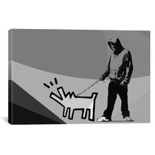 Street Art 'Grayscale Choose Your Weapon Keith Haring Dog' Graphic Art on Canvas