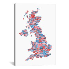 'Great Britain Cities Text Map' by Michael Tompsett Textual Art on Canvas