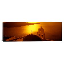 Panoramic Church of Anastasis, Santorini, Greece Photographic Print on Canvas