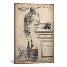 Cartography 'De Humani Corporis Fabrica Skeleton Standing' by Vesalius Painting Print on Canvas
