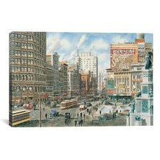 'Detroit Looking North on Woodward' by Stanton Manolakas Painting Print on Canvas