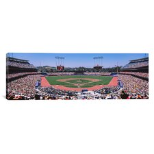 Panoramic Dodgers vs. Yankees, Dodger Stadium, City of Los Angeles, California Photographic Print on Canvas