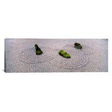 Panoramic Moss on Three Stones in a Zen Garden, Washington Park, Oregon Photographic Print on Canvas