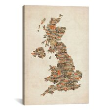 'Great Britain UK City Text Map II' by Michael Tompsett Textual Art on Canvas