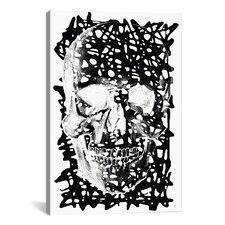 Modern Black Splatter Skull Graphic Art on Canvas