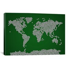 'Football Soccer Balls World Map' by Michael Tompsett Graphic Art on Canvas