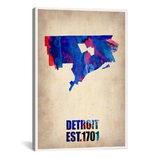 'Detroit Watercolor Map' by Naxart Graphic Art on Canvas