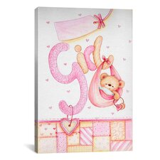Kids Children It's a Girl (Teddy Bear) Painting Print on Canvas