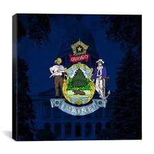 Maine Flag, Capitol Building Grunge Graphic Art on Canvas