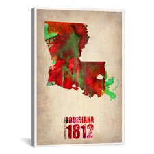 'Louisiana Watercolor Map' by Naxart Graphic Art on Canvas