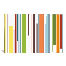 Striped Pastel Piano Keys Graphic Art on Canvas