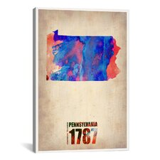 'Pennsylvania Watercolor Map' by Naxart Graphic Art on Canvas