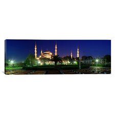 Panoramic Mosque Lit up at Night Blue Mosque, Istanbul, Turkey Photographic Print on Canvas
