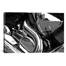 Cars and Motorcycles 'Engine Grayscale ll' Photographic Print on Canvas