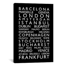 'World Cities Bus Roll II' by Michael Tompsett Textual Art on Canvas
