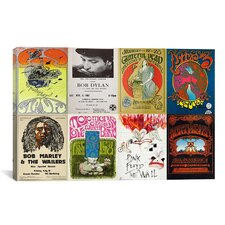 Pink Floyd, Bob Dylan, Greatful Dead, Bob Marley Concert Poster Vintage Advertisement on Canvas