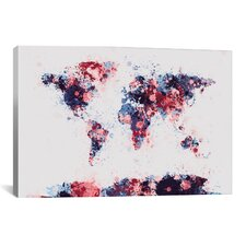 'World Map Paint Drops II' by Michael Tompsett Painting Print on Canvas