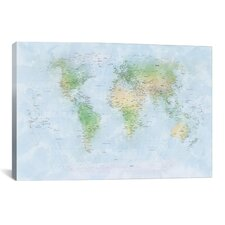 'World Map III' by Michael Tompsett Graphic Art on Canvas